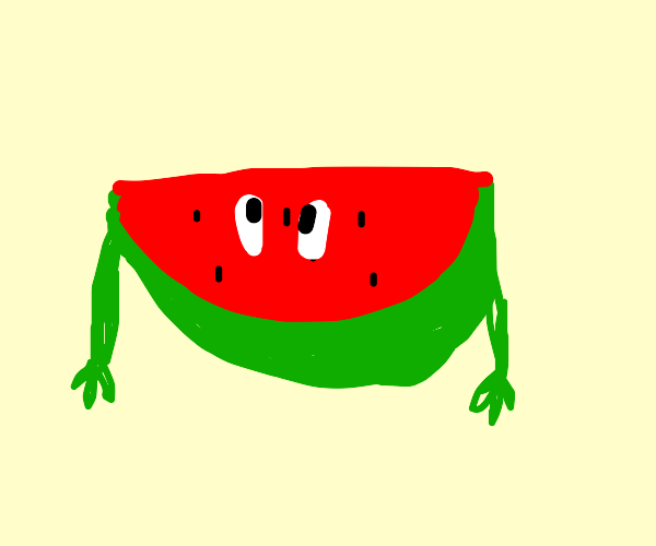 Watermelon slice with arms