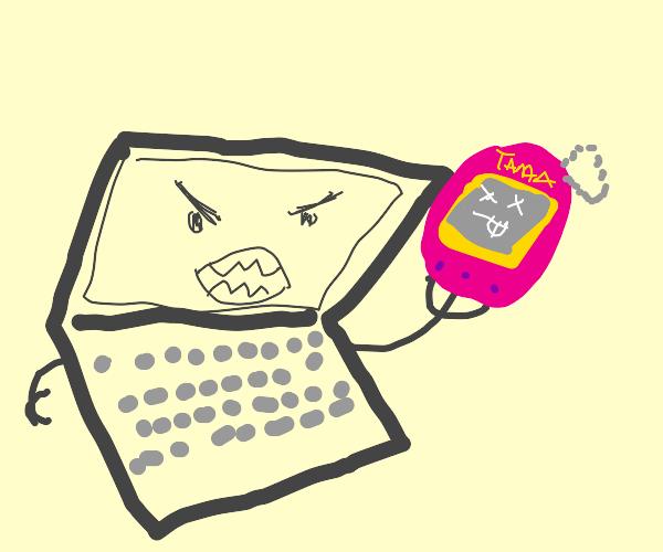 Angry laptop eating Tamagotchi