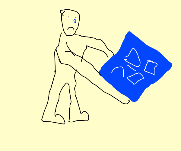 sad man holding a blueprint