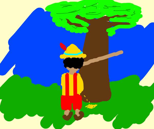 Pinocchio taking a leak