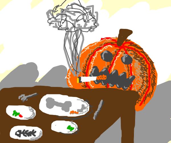"The ""I'm very hungry"" pumpkin begins smoking"