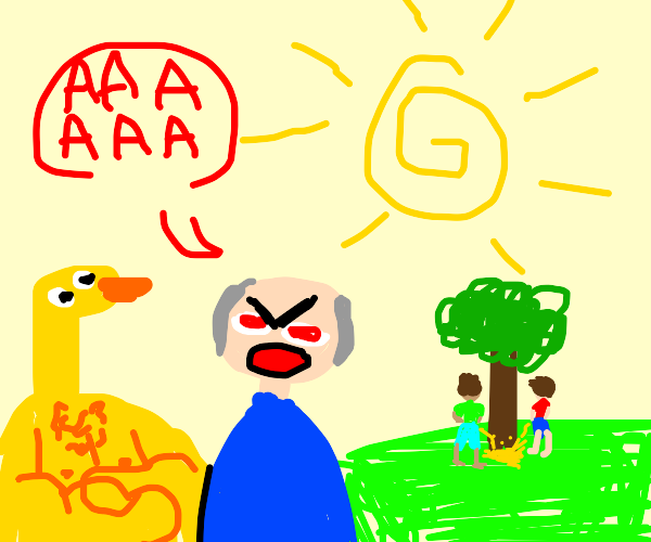 Old man angry at duckman &friends pee on tree