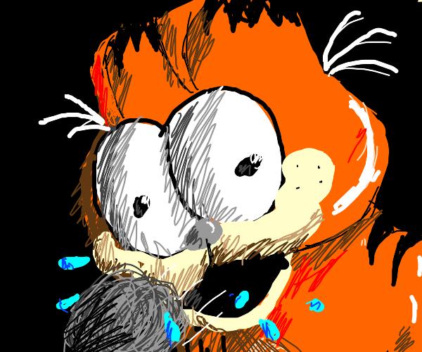 Garfield coughs up a hair ball
