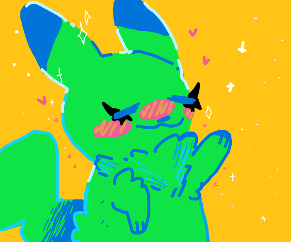Green Pikachu with eyeliner