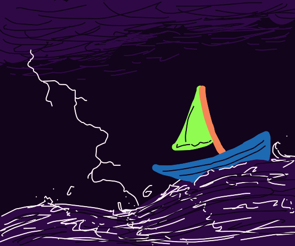 Boat in the sea in a storm