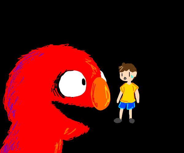 Elmo looks at kid with brown hair