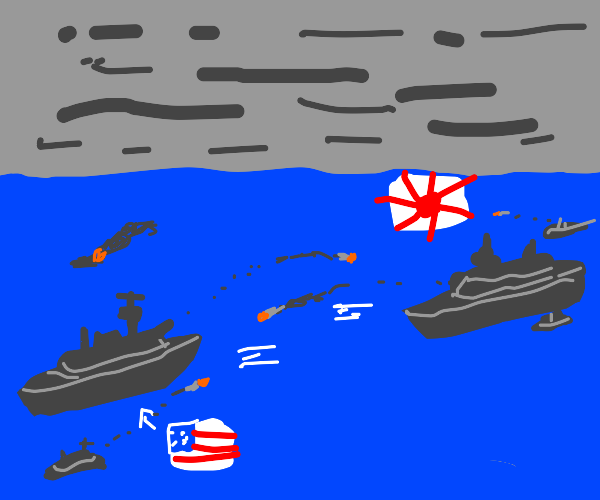 WW2 battle with US and JPN on ocean