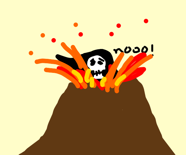 the grim reaper burning in a volcano