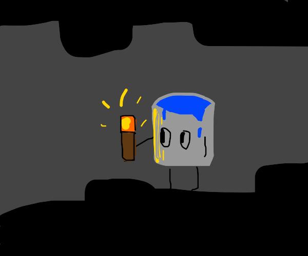 Minecraft water bucket walking n cave w/torch