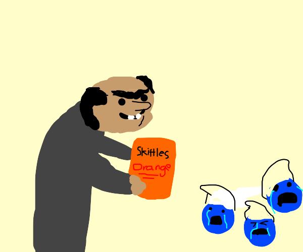 Gargamel stole all the orange skittles