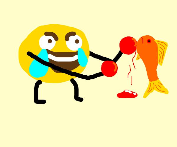 Crylaugh emoji boxes a fish