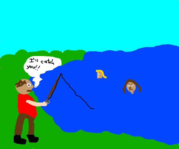 Man fishing for girlfriend