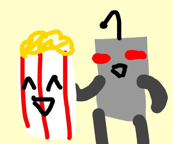 Robot with his popcorn friend