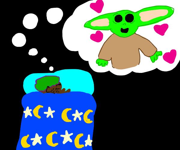 Young man dreaming of baby yoda