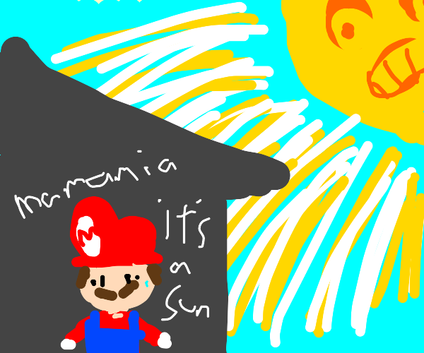 Mario hides from the sun