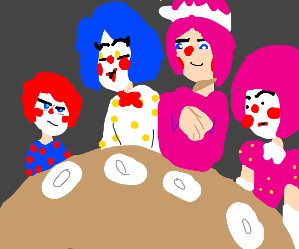 a clown family at a resturant