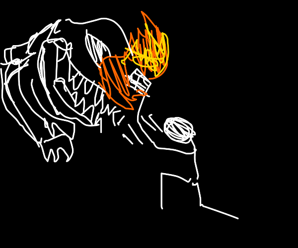 Man sets trex skull on fire by brushing too f