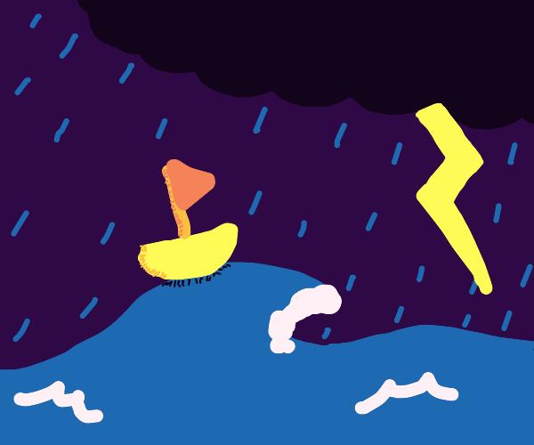 Storm at sea. Sailboat rides it out