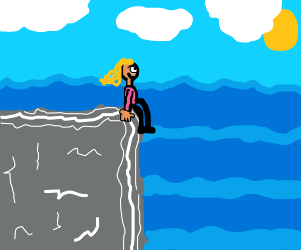 Girl sitting on a cliff