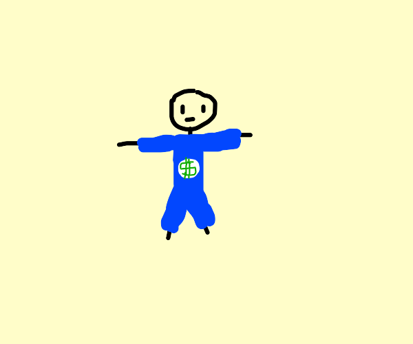 Guy in blue jump suit with money logo