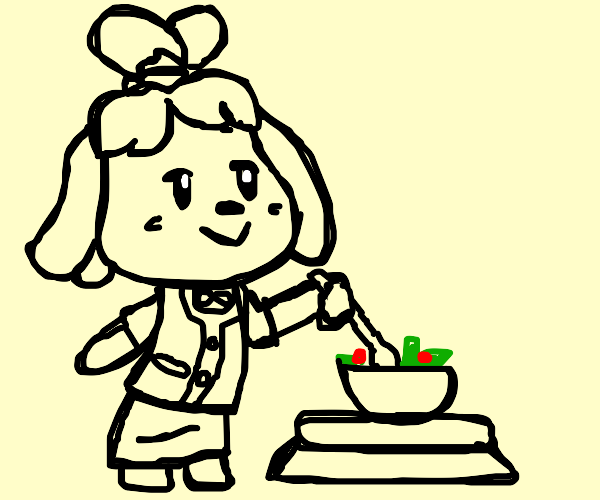 animal crossing character cooking a salad