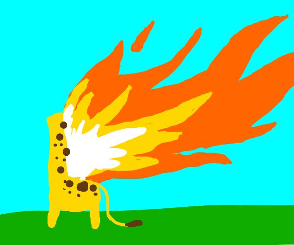 Headless Giraffe on fire