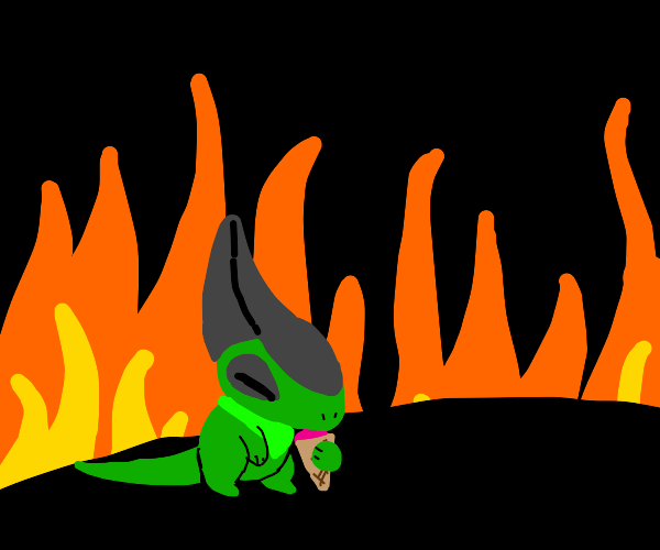Axew eats icecream, but everything is on fire