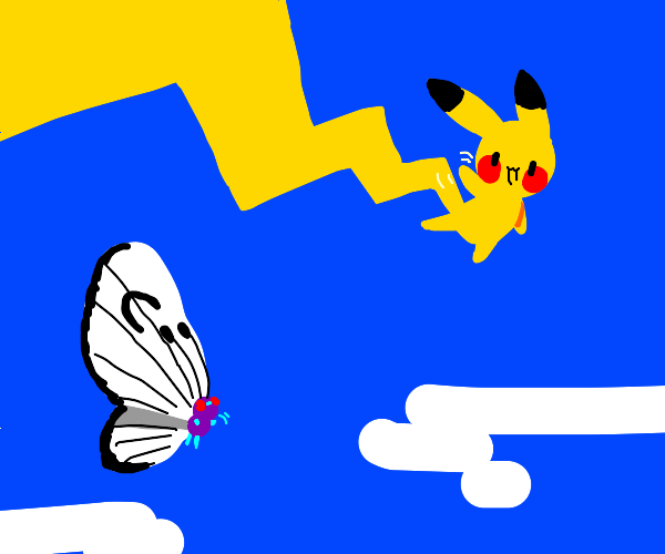 Pikachu jumping over a butterfly