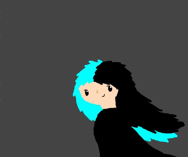 Half cyan half black haired girl