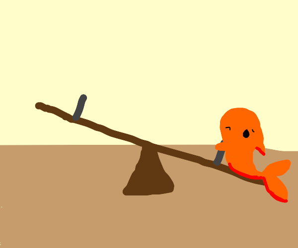 Lonely fish on a seesaw