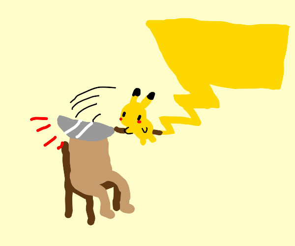 pikachu but he chopped someones head off
