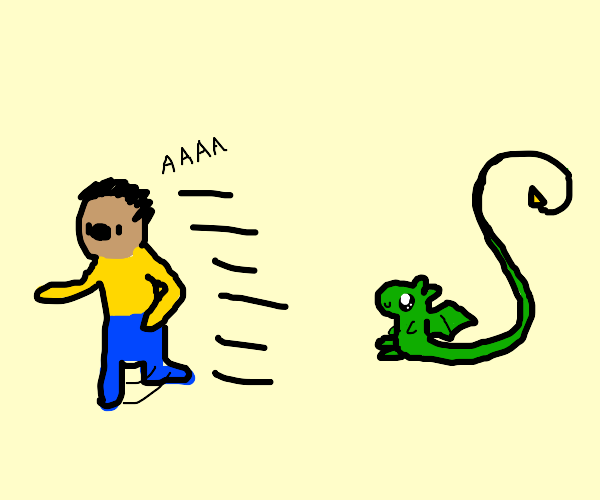 Scared man being chased by dragon