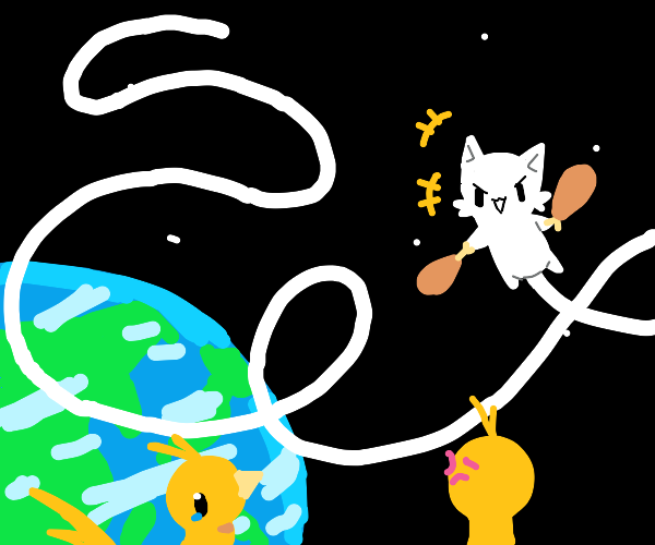 Cat eating nuggets in space mocking chickens