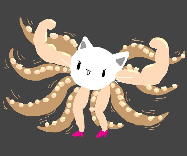 cat head, buff arms, womens legs, tentacles
