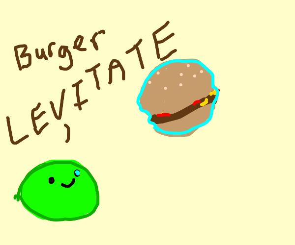 Alien levitates ham burger