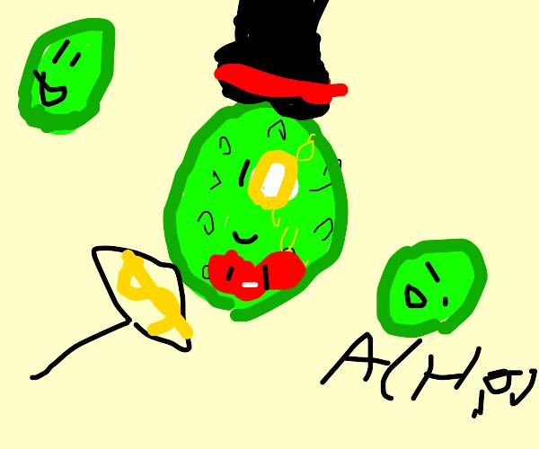 a rich, very dapper green germ w/ a monacle