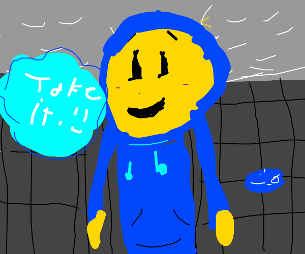 Blue smiley hoodie man wants you to take it