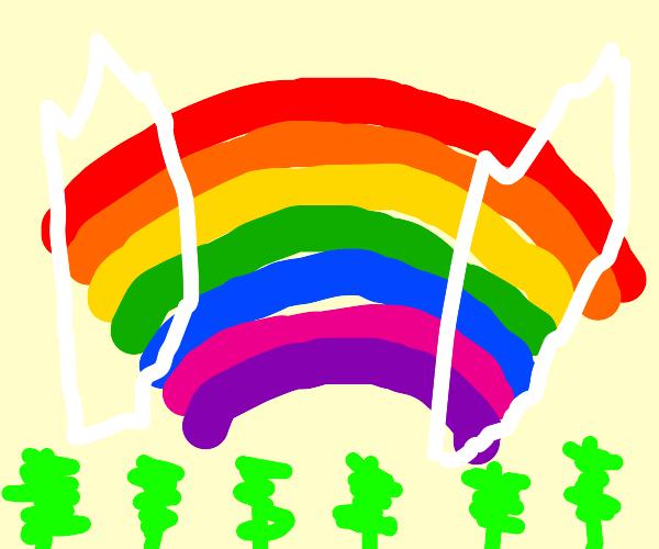 Flying rainbow slinky