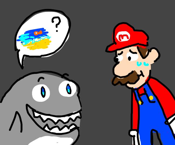 Shark asks mario where the sea is