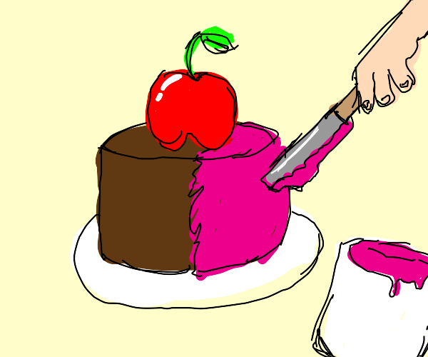 Icing a cake with an apple on it
