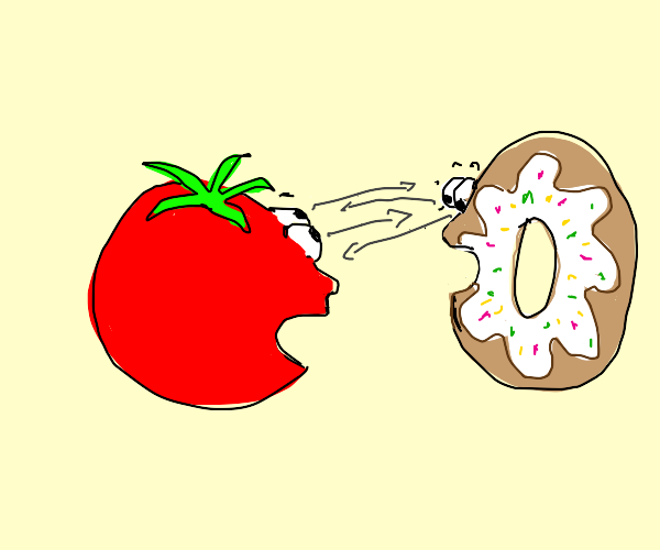 tomato and donut stare at each othre