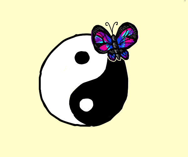Butterfly and yinyang symbol
