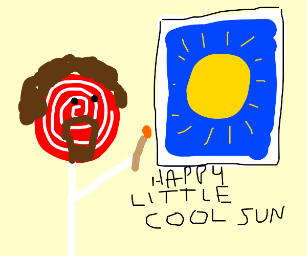 Candy bob ross painting a cool sun