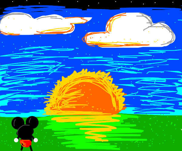 Mickey Mouse watches the sunset