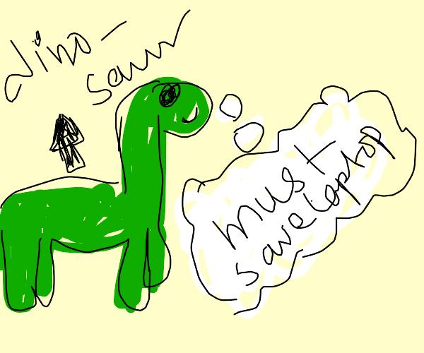 Dinosaur thinking of saving his laptop
