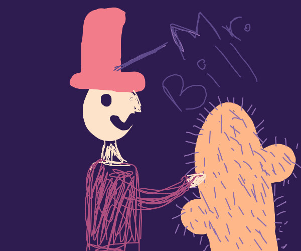 Mr Bill poking a cactus while smiling