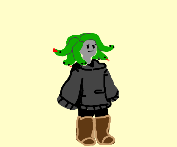 Medusa Wearing Brown Boots