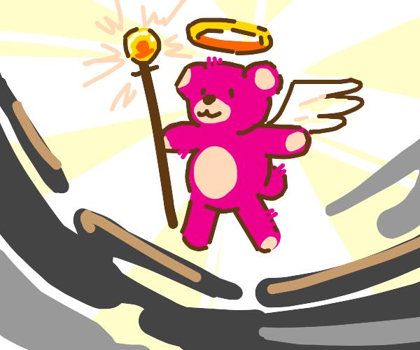 Pink bear is an angel of light