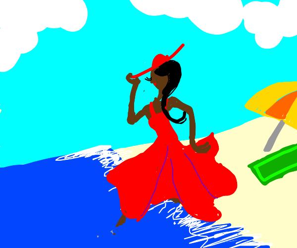 Dancer enjoying the Beach