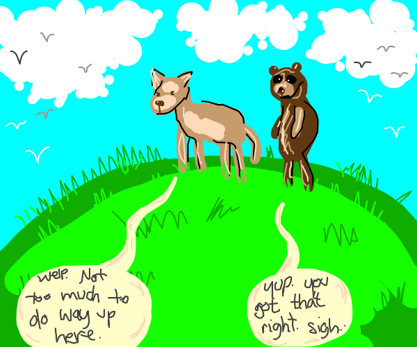 Bored animals stand on a hill